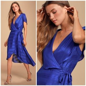 Lenita Royal Blue Striped Satin High-Low Midi